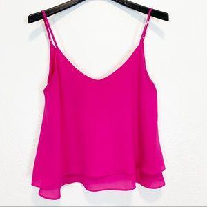 Veronicam Hot Pink Layered Sleeveless Top M